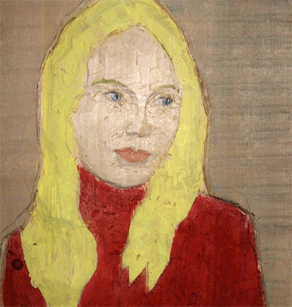 Woman with blond hair, 2008, poplar wood, paint, 28 x 30 x 4 cm