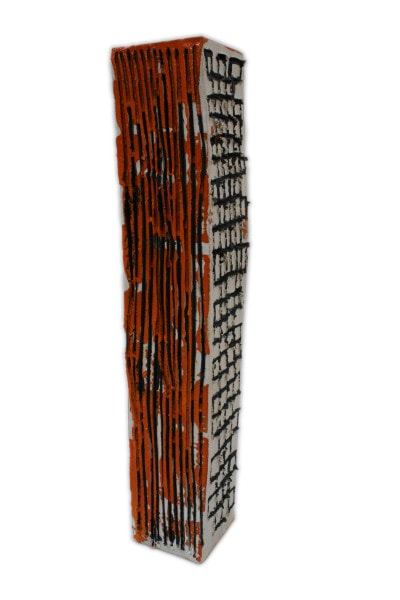 'Tower 1', ceramic and paint, 12 x 12.5 x 69 cm<br />