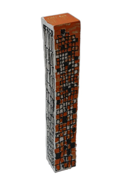 'Tower 10', ceramic and paint, 14.5 x 14.5 x 112 cm<br />