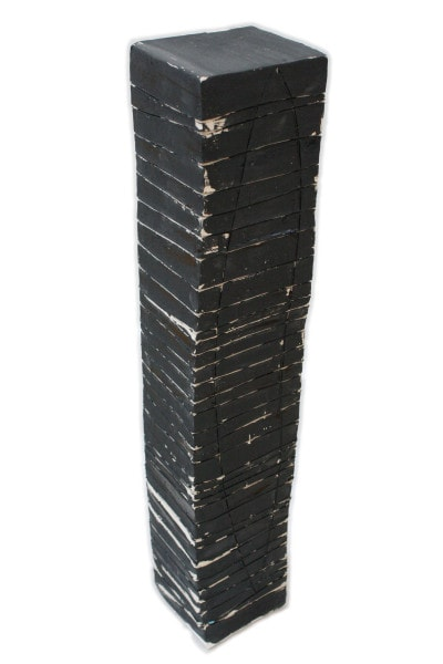 'Tower 2', ceramic and paint, 12 x 12.5 x 69 cm<br />