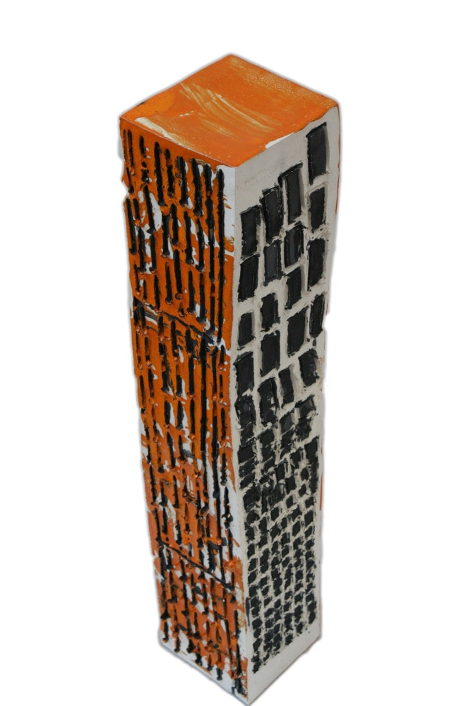 'Tower 4', ceramic and paint, <br /> 14.5 x 14.5 x 75 cm<br />