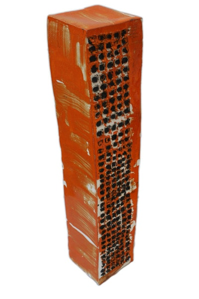 'Tower 5', ceramic and paint, <br /> 14.5 x 14.5 x 75 cm<br />