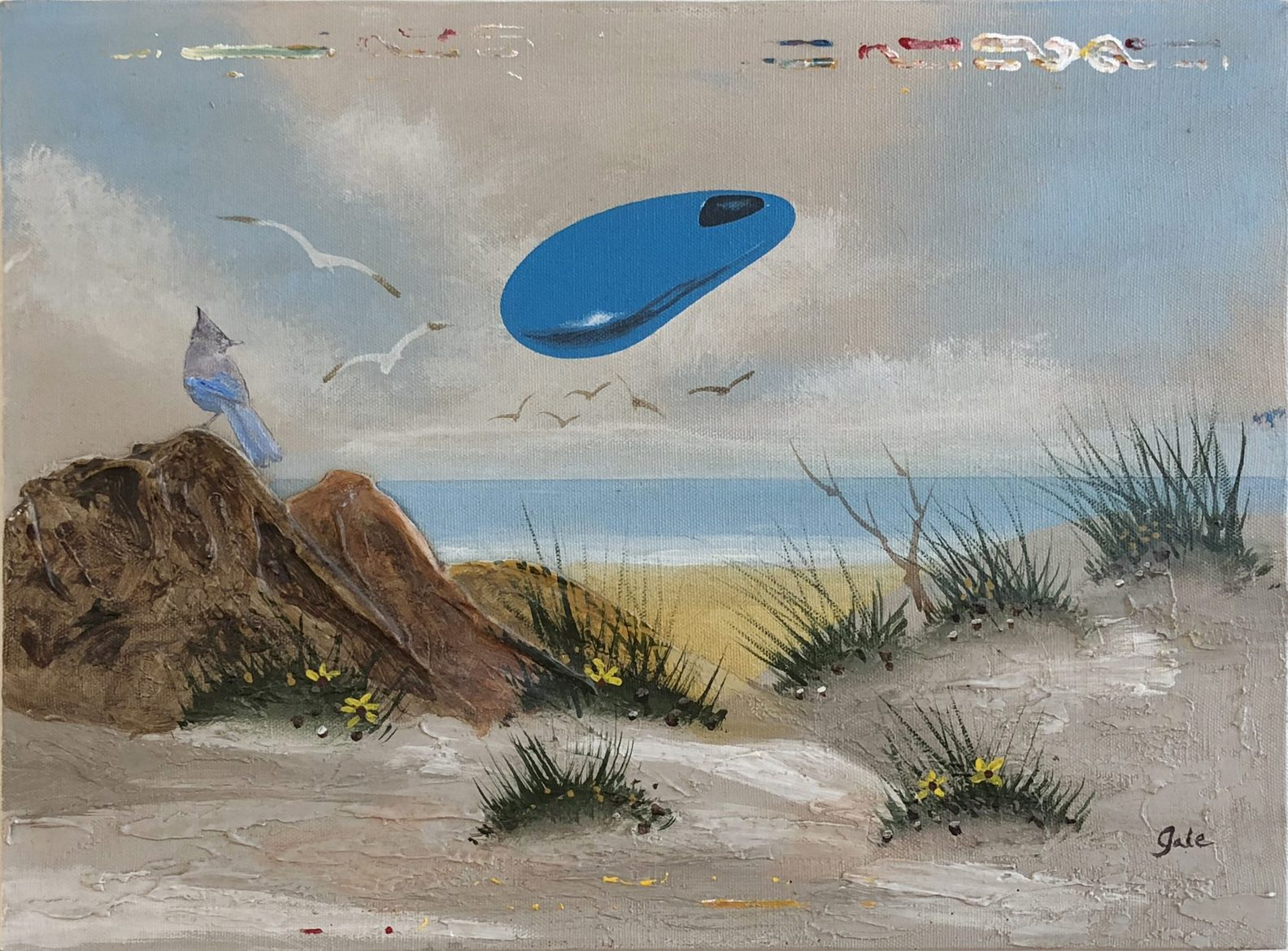 Tim Johnson and Daniel Bogunovic, 'Untitled', 2019, acrylic on sourced canvas  painting,  30 x 40 cm