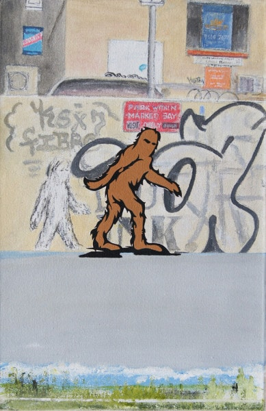 Tim Johnson and Daniel Bogunovic, 'Newtown Bigfoot', 2016, acrylic on linen, 45 x 30 cm