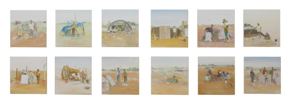 Tim Johnson, 'Papunya', 2016, oil on board, 12 panels, 30 x 30 cm each