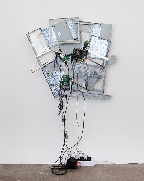 'White Noise Nostalgia', 2015, Television components, media players, chords, 200 x 100 x 15 cm,