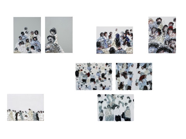 'From the Series 'Human Noise'', 8 panels each 30 x 40cm, oil on canvas, dimension variable, display size ca. 110 x 170 cm