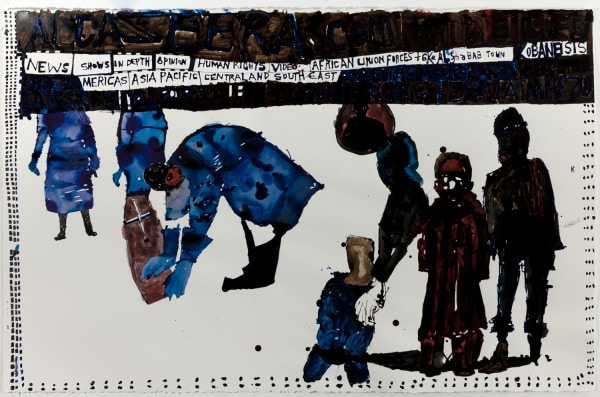 'A week in the life IV', 2015, Ink on paper, 78 x 114 cm, framed
