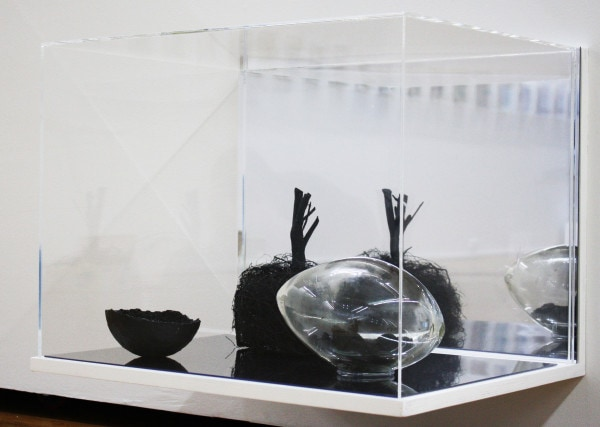 'Carbon Futures Gathered', 2016, glass, carbonised plants, paper mache, crystals, <br /> 47 x 62 x 48 cm<br />
