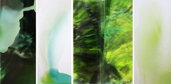 'TARKINE from Avalanche', 2012, Dark Glass #2 (the Tarkine, Tasmania), Duraclear, acrylic, dibond mirror, oil, glaze, 85 x 120 cm (each)