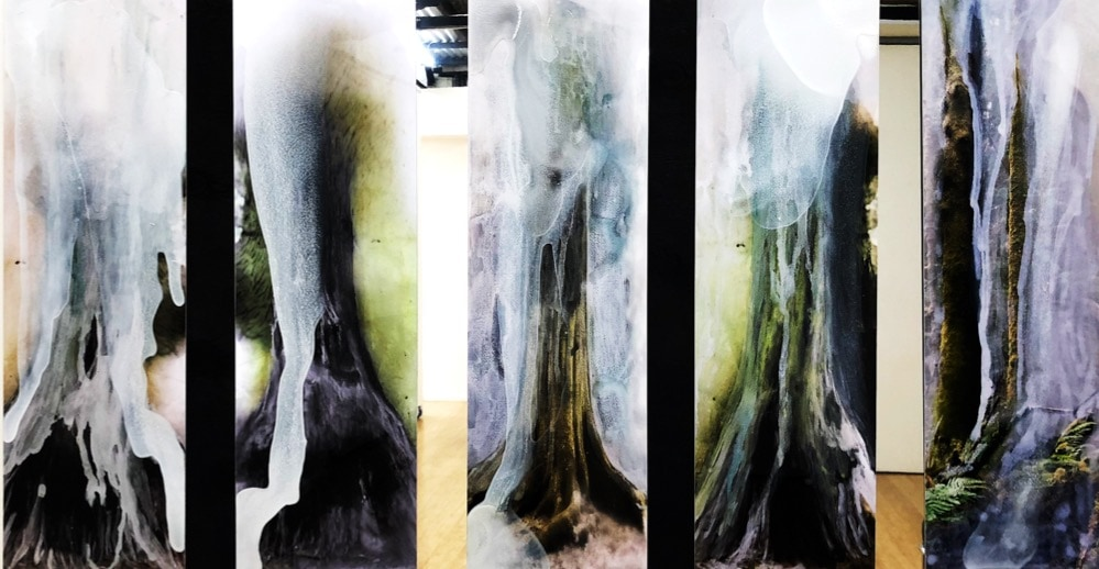 Seeping Out (After the Theatre of Trees) Five Panels, 2019, dye sublimation archival print on Chromaluxe aluminium with paint and pigments, wood, mirror, five panels, 100 x 195 cm overall, unique