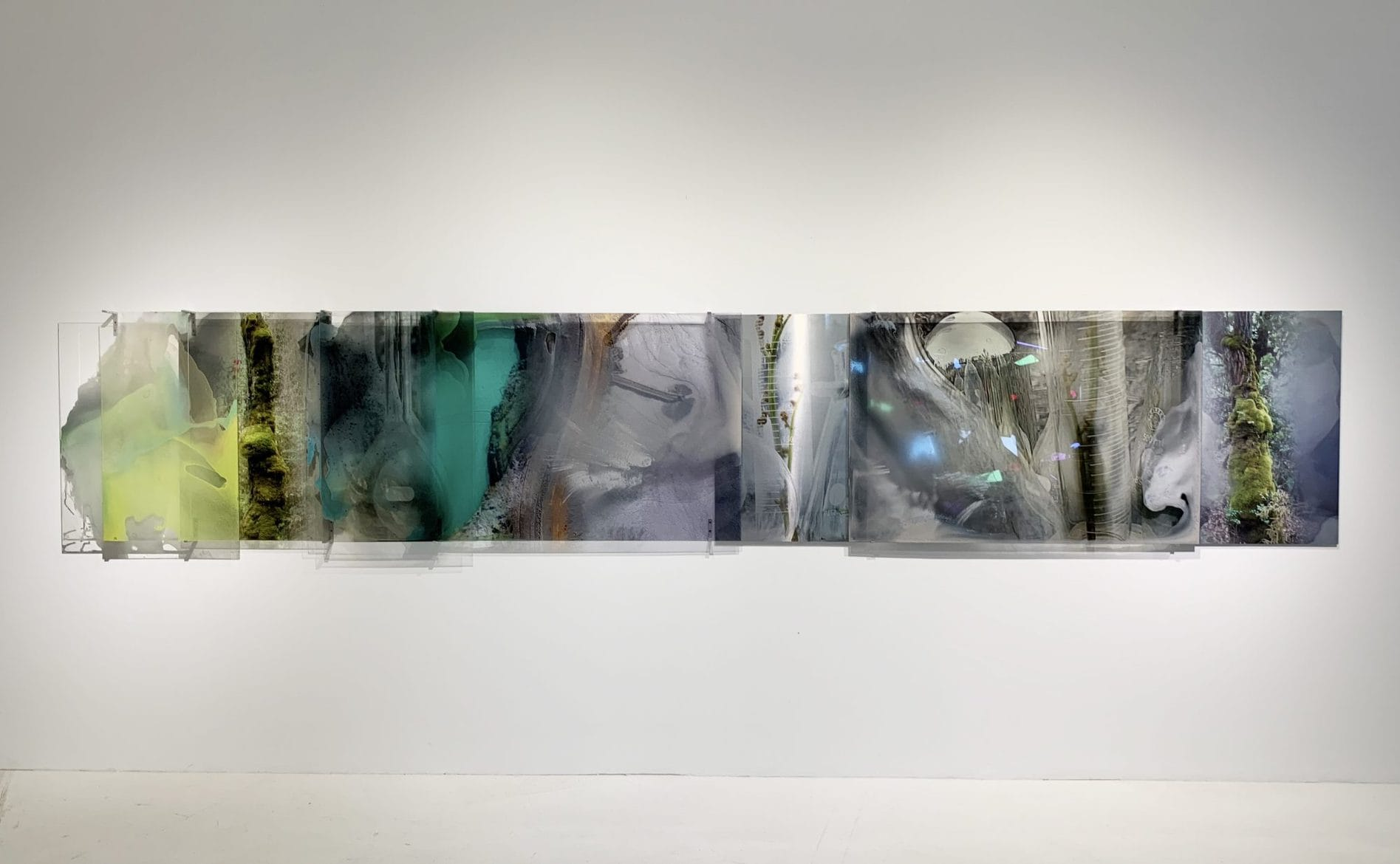 'Sacred green chlorophyll collapse series', 2017-2019, Dye sublimation archival print onto Chromaluxe aluminium and C type silver halide print on clear polyester with paints and pigments, ca. 100 x 620 cm