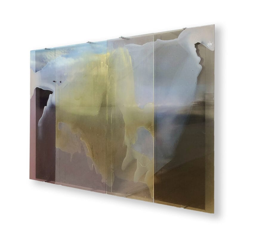Janet Laurence, 'Planetary Gardening Reflected (Lake Eyre)', 2020, duraclear, metallic paints and pigment on acrylic, mirror, four panels, 100 x 140 cm overall