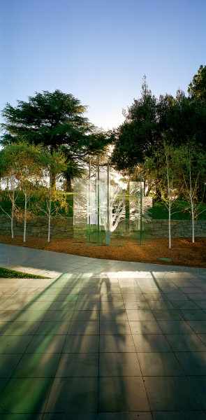 The Breath We Share, 2003, glass, steel, ceramic-fired screenprint, silver birch trees