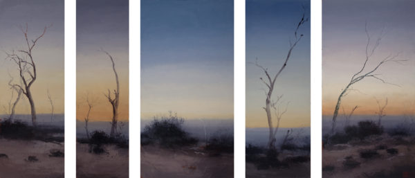 'Elegy in Five Parts', 2018, oil and beeswax on linen, 5 panels, 120 x 280 cm overall