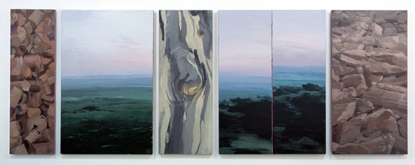 'Liawenee panels', 2000 – 2002, oil & beeswax on linen, 5 panels, 151 x 414 cm (overall)