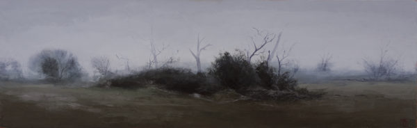 'A Veil of Fog ', 2018, oil & beeswax on linen, 62 x 204 cm