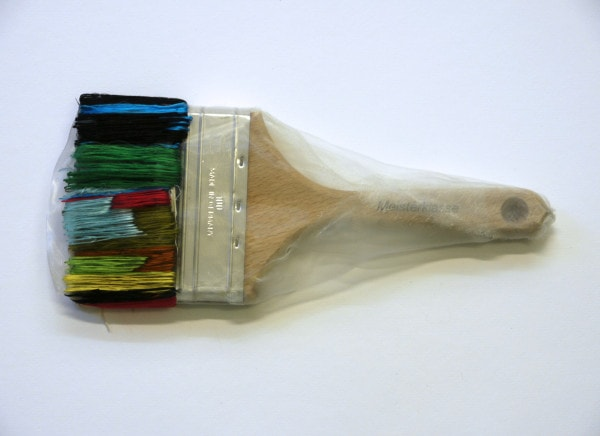 'Renovated Brush, 2015, hardened German brush, Japanese silk thread, German synthetic cloth