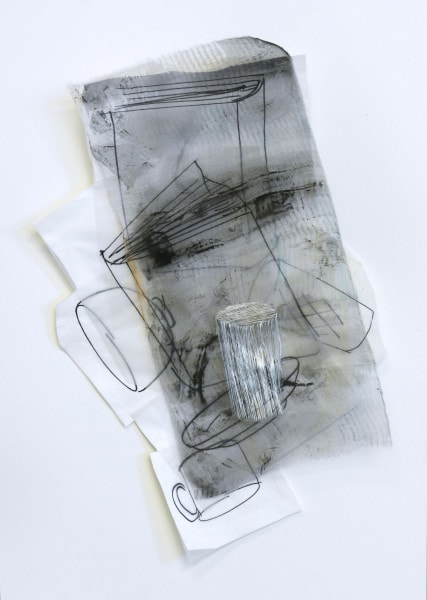 'The Time to Stop 2', 2014, Paper, drawing with permanent pen, Italian coloured synthetic cloth, Japanese silk thread, 45 x 61cm