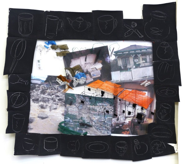 'Things to Renovate', 2014, Drawing on painted cloth, German synthetic cloth, Japanese silk thread, color print on paper, 58 x 68cm