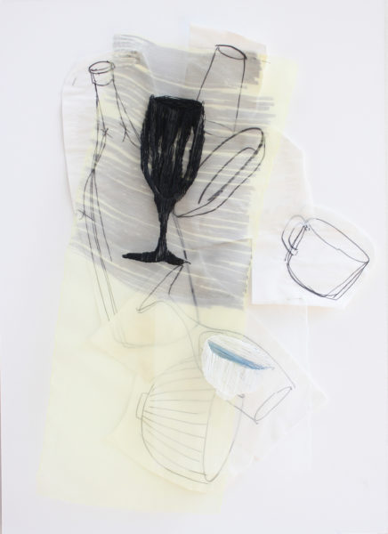 'The Time to Stop III', 2014, 80 x 50 cm, Paper, drawing with permanent pen, Italian coloured synthetic cloth, Japanese silk thread