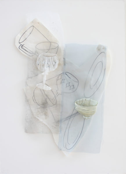 'The Time to Stop II', 2014, 80 x 50 cm, Paper, drawing with permanent pen, Italian coloured synthetic cloth, Japanese silk thread