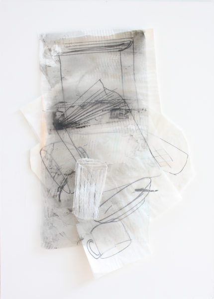 : 'The Time to Stop I', 2014, 80 x 50 cm, Paper, drawing with permanent pen, Italian coloured synthetic cloth, Japanese silk thread