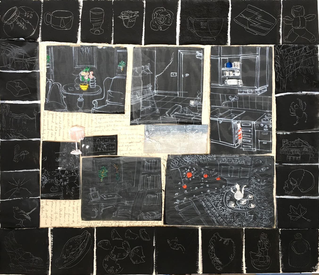 'The things to renovate 2 in P.City', 2014, 80 x 100 cm, Paper, drawing with permanent pen, Italian coloured synthetic cloth, Japanese silk thread