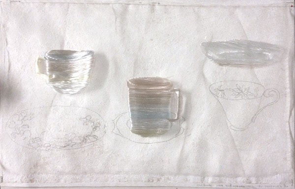 'One broken gone and one new came', 2008, Pencil, Japanese silk thread, Italian synthetic cloth on wallpaper, 54 x 38 cm