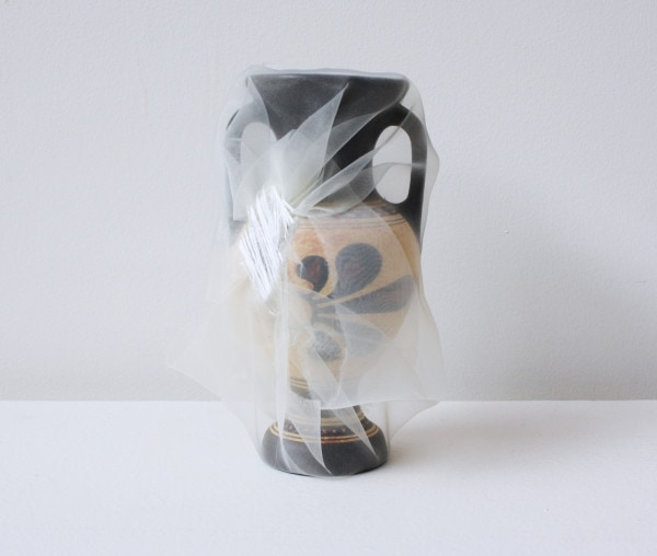 'Renovated Greece flower vase', 2014, ceramic vase, Italian synthetic cloth, Japanese silk thread, 17H x 7D cm