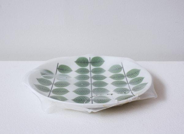 'Renovated leaves dish', 2011, ceramic plate, Italian synthetic cloth, Japanese silk thread, 3H x 21H cm