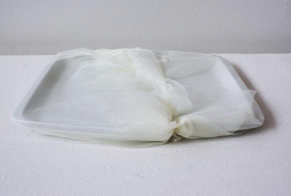 'The accident 1', 2013, Italian synthetic cloth, Japanese silk thread, 26 x 16 x 12 cm