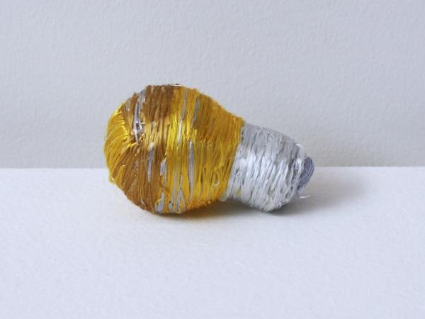 'Renovated light bulb yellow', 2012, light bulb, Italian synthetic cloth, Japanese silk thread, 7H x 4D cm