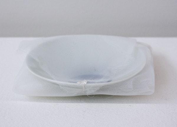 'Blue moon plate', 2004, ceramic plate, Italian synthetic cloth, Japanese silk thread, 2H x 11D
