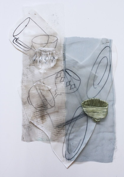 'The time to stop 3', 2014, paper, drawing with permanent pen, Italian coloured synthetic cloth, Japanese silk thread, 45x61cm
