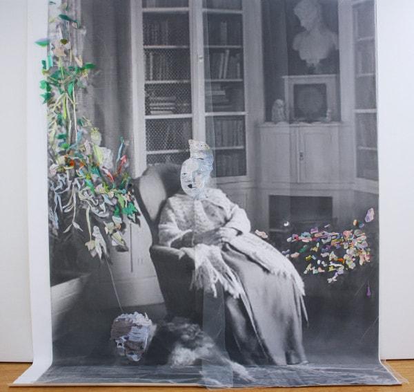 'For E.K', 2015, print on cotton, Japanese silk thread, German synthetic cloth, 364 x 284 cm