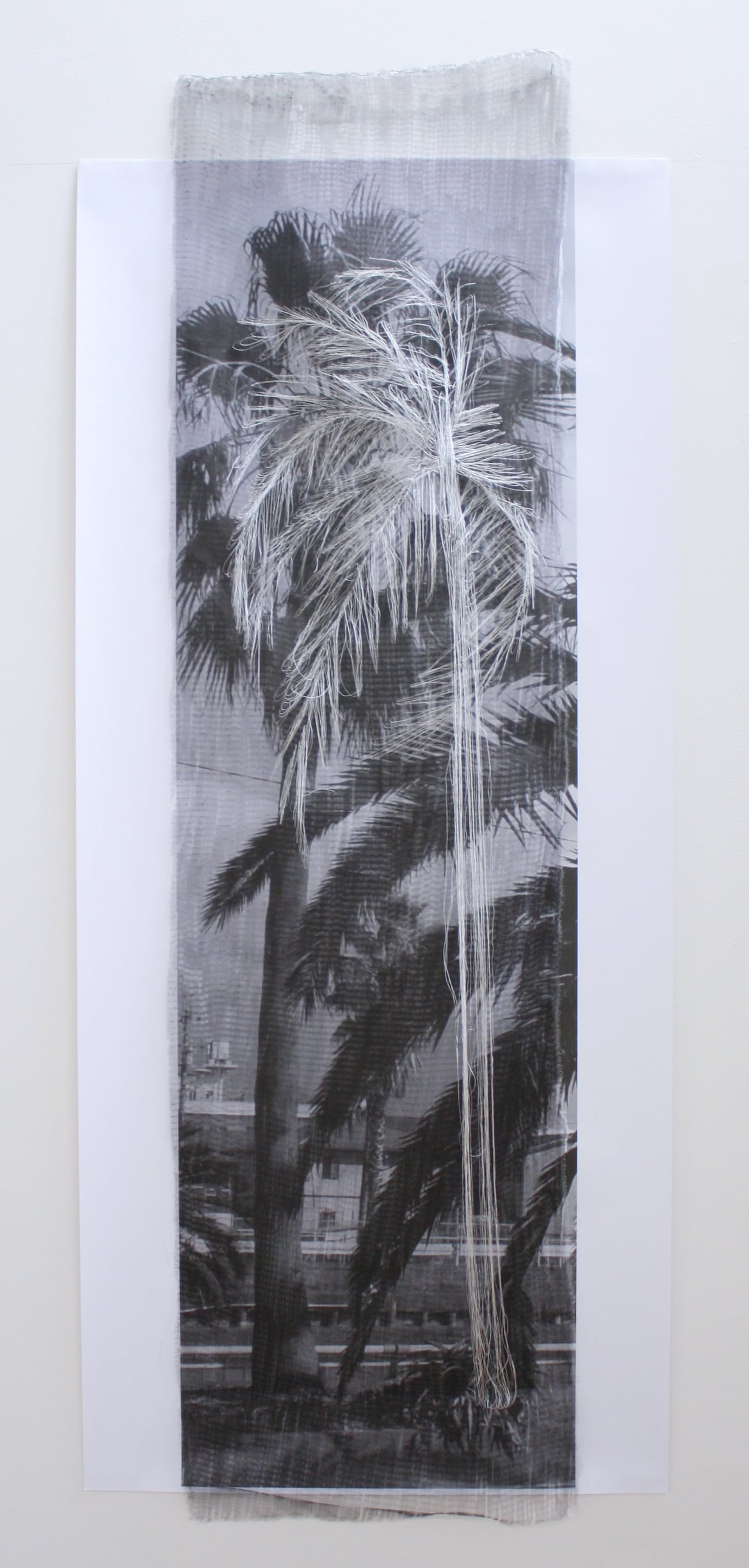 'They Were Still Alive in M City and N City', 2012, print on cotton, Japanese silk thread, German synthetic cloth, 145 x 60 cm