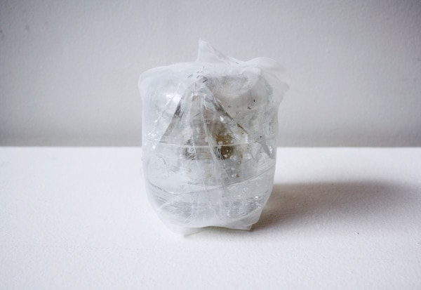 'Renovated light', 2010, Italian synthetic cloth, glass light, Japanese silk thread, 10H x 8D cm
