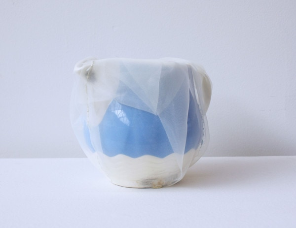 'Renovated R.D.'s pitcher', 2013, ceramic jug, Italian synthetic cloth, Japanese silk thread, 13H 18D cm