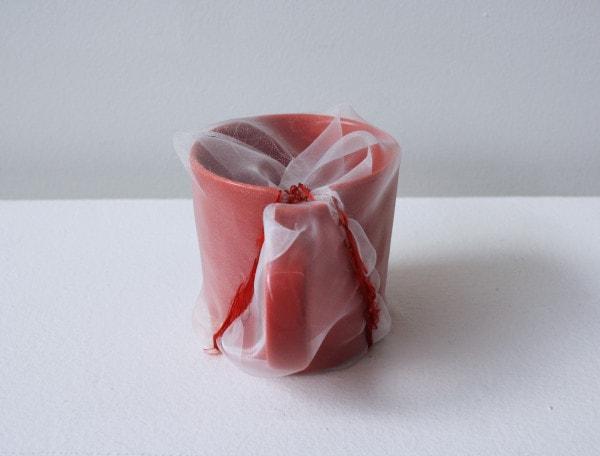 'Renovated red mug cup', 2013, ceramic mug, Italian synthetic cloth, Japanese silk thread, 8H x 8D cm,