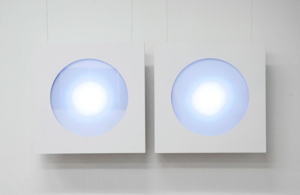 'Hello', 2014, Custom made animated light boxes, microprocessors, LED lights, 50cm x 50cm x 5cm each, Edition 1/3 +1AP<br />