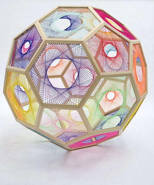 Sliding Ladder: Truncated Icosahedron 2010, Wood, wool, stainless steel, 130cm x 130cm<br />