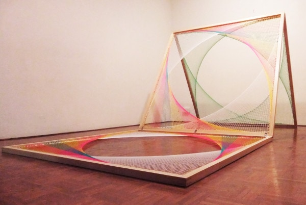 'Sliding Ladder: Yellow, White, Pink, Blue, Green', 2012, Wood, wool, steel, 160 x 150 x 230 cm