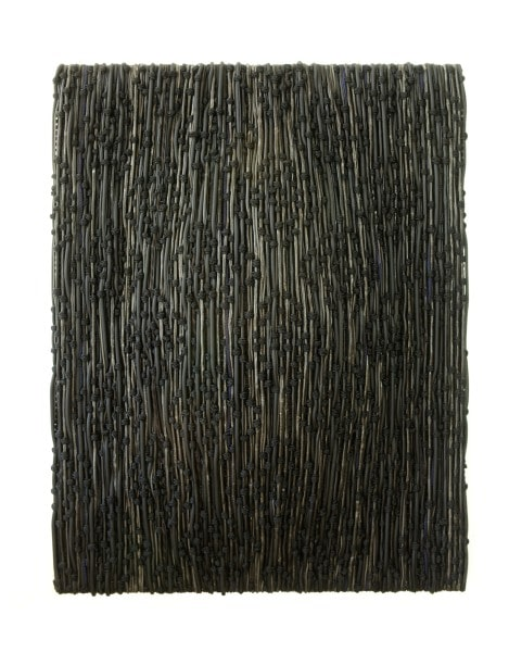 Shield – Study for a Portrait- Take 2, 2015, stainless steel braided hose, polyester, nylon, rubber and leather on aluminium frame, 180 x140x 30cm
