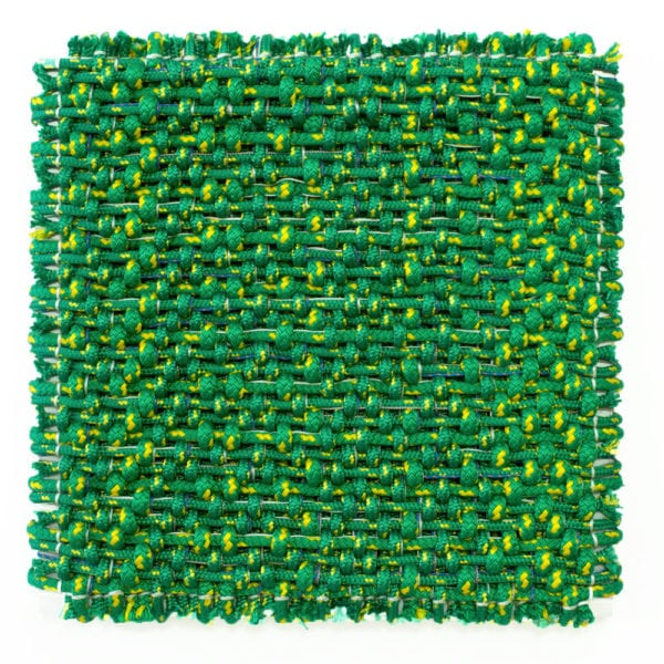 'Composition in Orange and Green', 2018, polyester and aluminium, 62 x 62 x 8cm