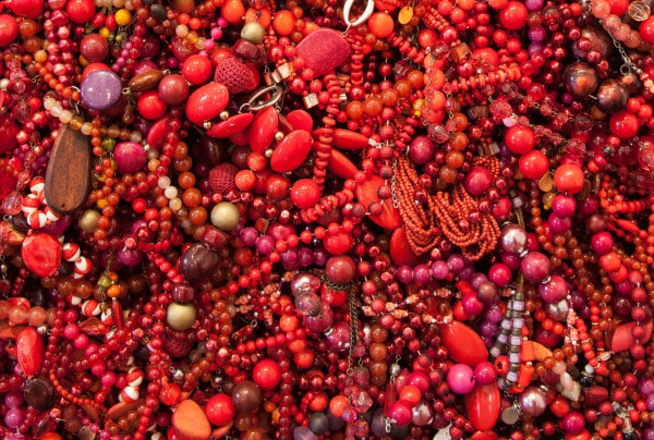 'Mother (Composition in Red)', detail, 2014-2016, secondhand necklaces and beads on powder coated aluminium frame, 170 x 170 x 9 cm