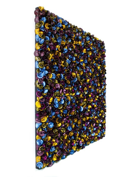 'Fool's Paradise (Arrangement in deep victory and distant howls in blue and fake yellow)', side detail, 2016, customised corner cube reflectors, glass beads on powder coated aluminium frame,<br />