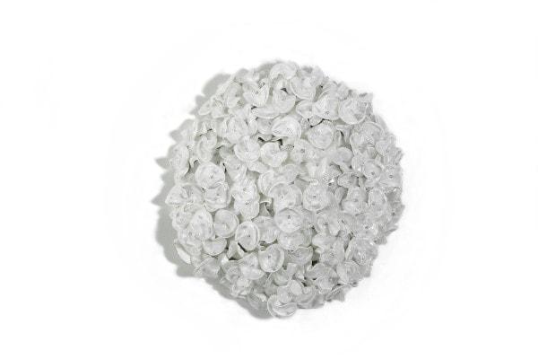 Dot (white – take 1), 2016, corner cube reflectors and glass beads on galvanised steel frame, 60cm diameter x 15cm depth
