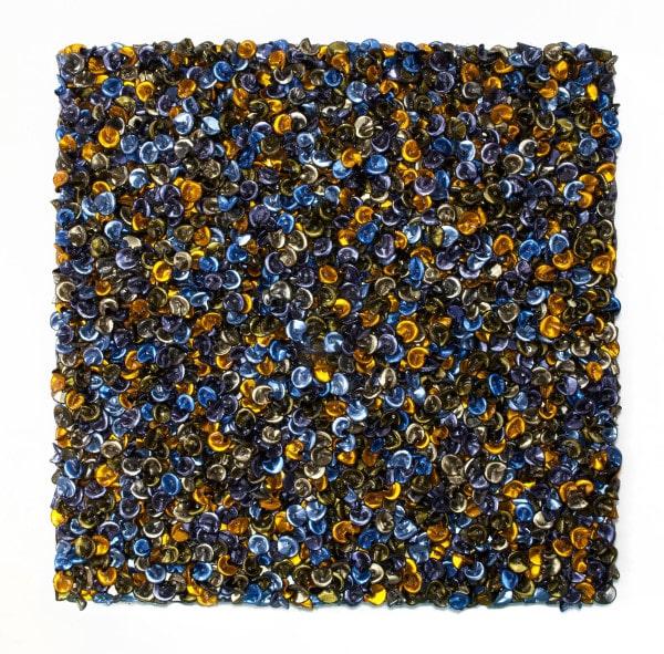'Fool's Paradise (Arrangement in coastal blue and honey sizzles)', 2016, customised corner cube reflectors, glass beads on powder coated aluminium frame,185 x 185 x 17 cm