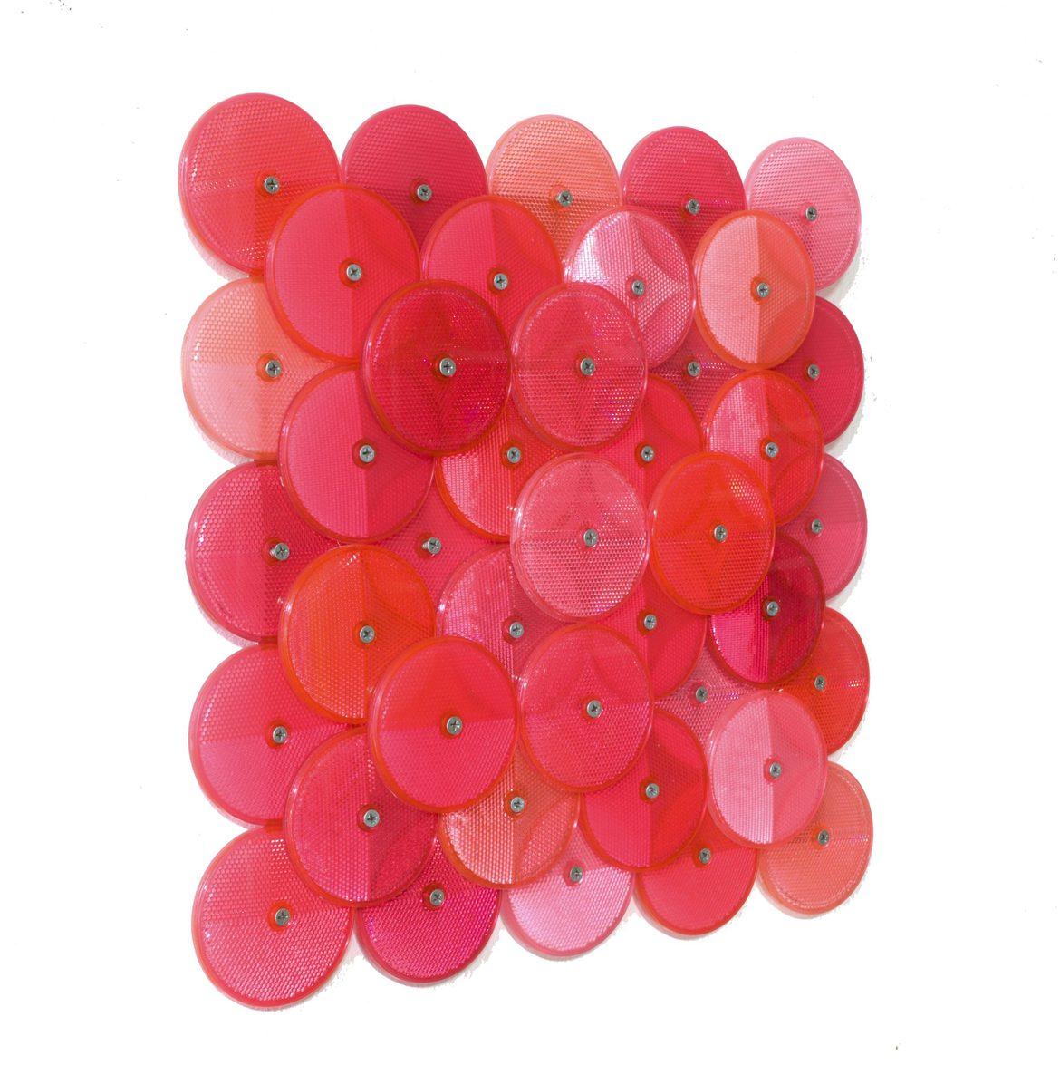 Dust (Pink), customised corner reflectors, 42 x 42cm, side view